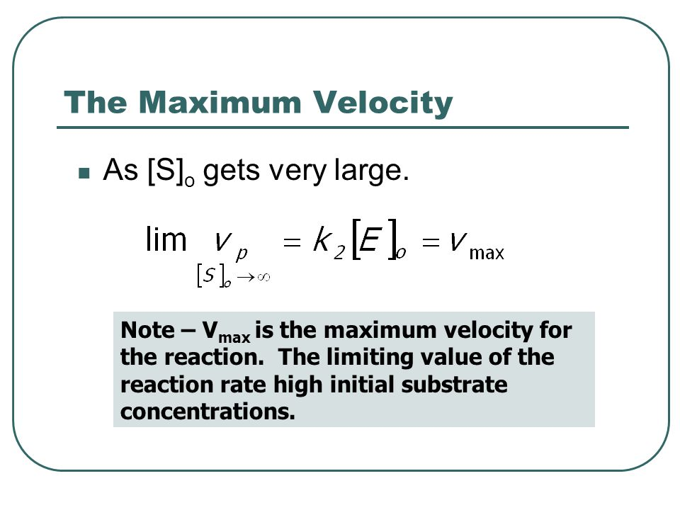 The Maximum Velocity As [S]o gets very large.